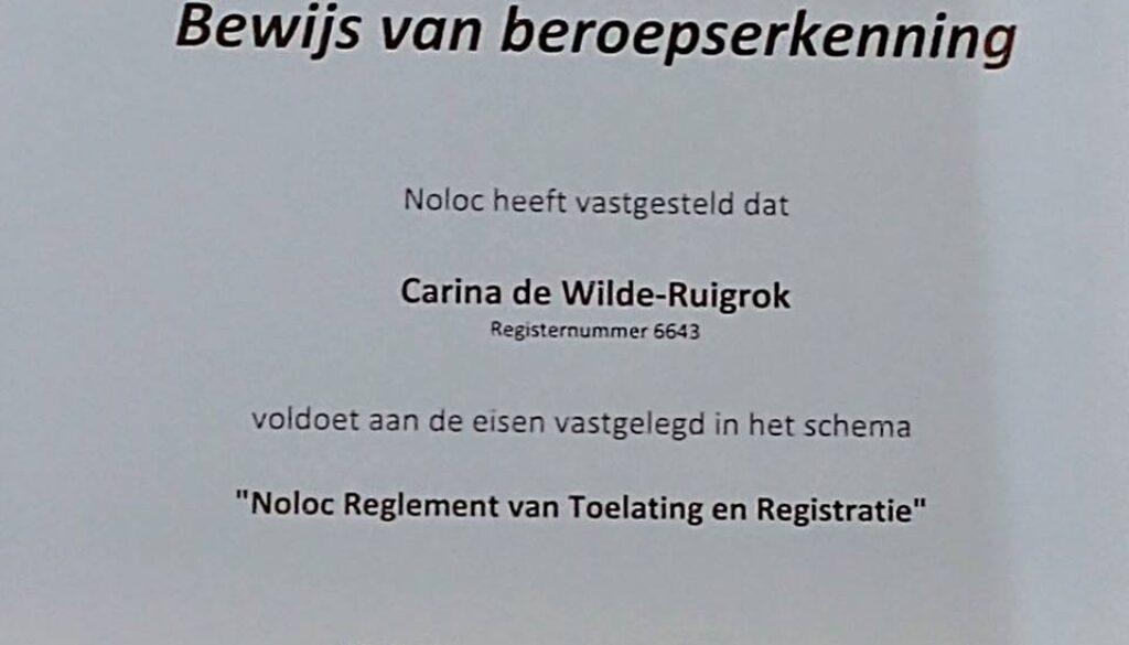 Opnieuw 3 jaar beroepserkenning NOLOC